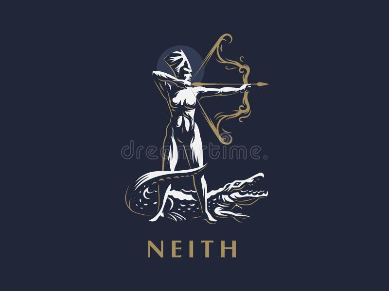 埃及女神Neith 射手座 鳄鱼 皇族释放例证