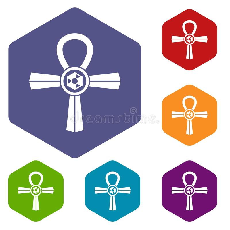 埃及安赫标志象设置了六角形 向量例证