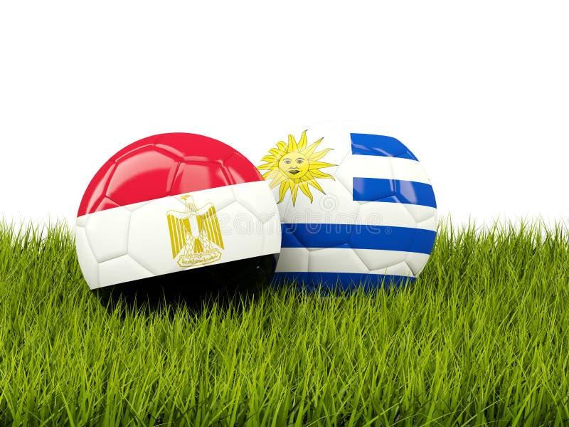 埃及对乌拉圭 球特写镜头概念穿上鞋子足球体育运动 与旗子的橄榄球在绿色 向量例证