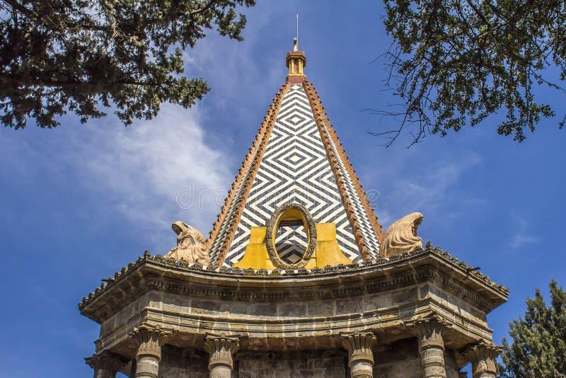 埃及教堂的圆顶的图象以金字塔和送葬者的形式两个雕象的  库存照片
