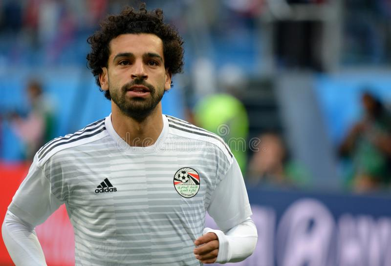 埃及星在世界杯2018比赛俄罗斯v前的穆罕默德Salah 图库摄影