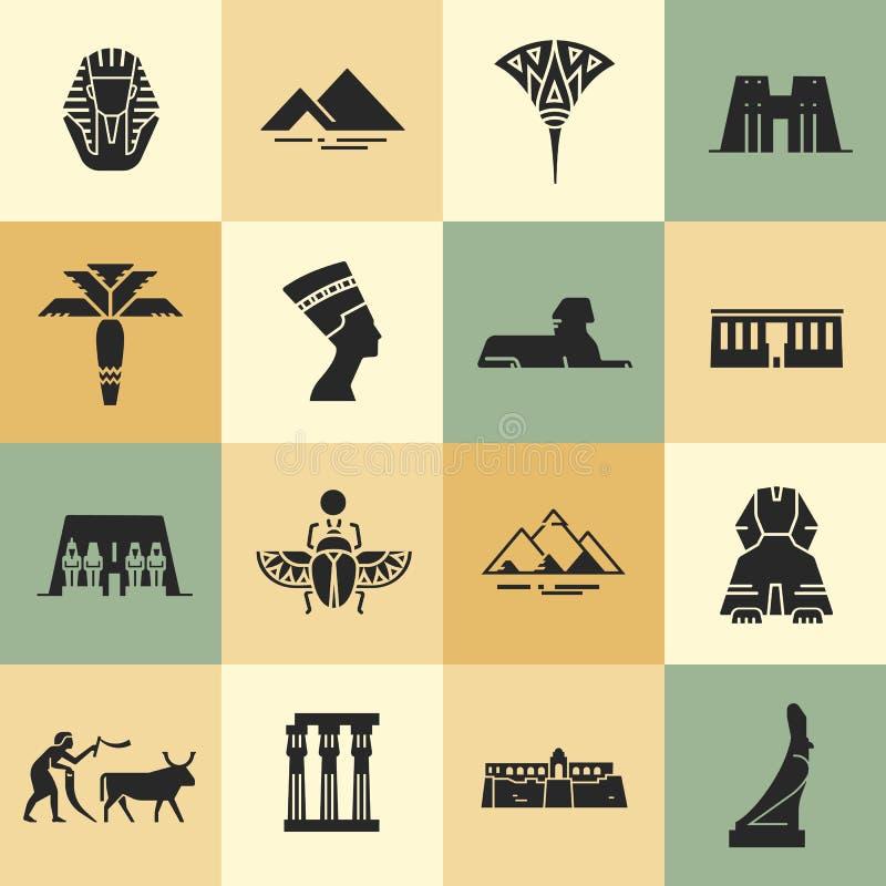 埃及标志、地标和名人在平的样式象 库存例证