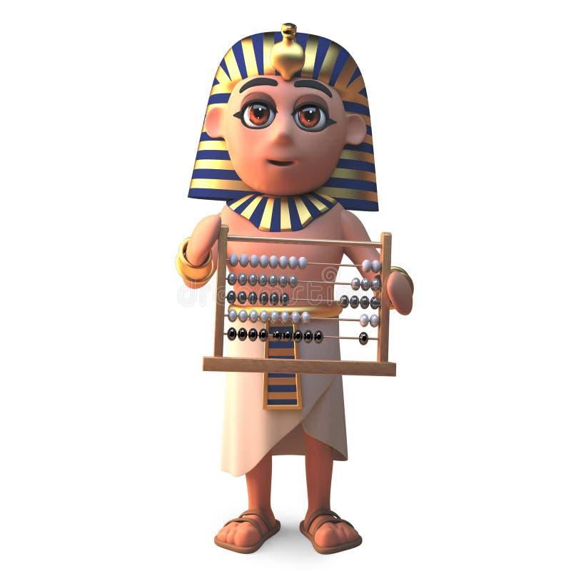 埃及法老王拿着算盘,3d的图坦卡蒙例证 库存例证