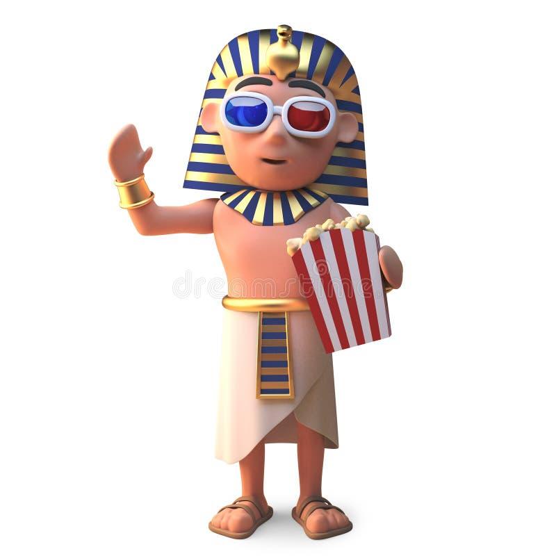 埃及法老王观看3d电影吃玉米花,3d的图坦卡蒙例证 向量例证