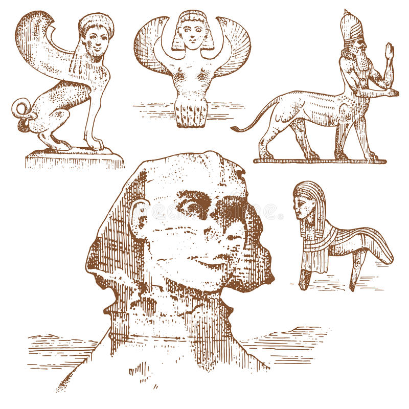 埃及狮身人面象和其他意想不到的生物,古老文明, centaurus神话标志  向量例证