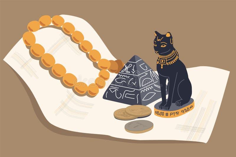 埃及猫、金字塔和纸莎草 向量, EPS 10 向量例证