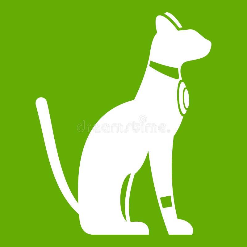 埃及猫在绿色背景隔绝的象白色 也corel凹道例证向量