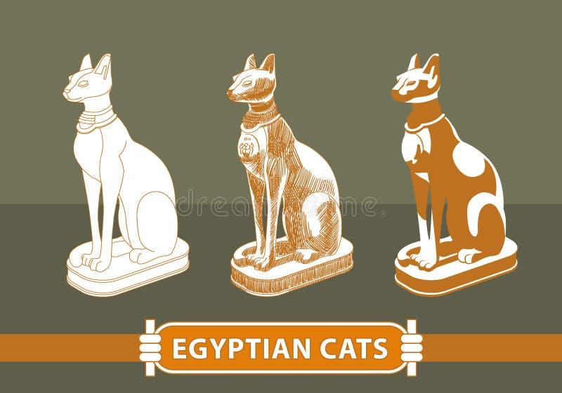 埃及用不同的技术绘的猫雕象 库存例证