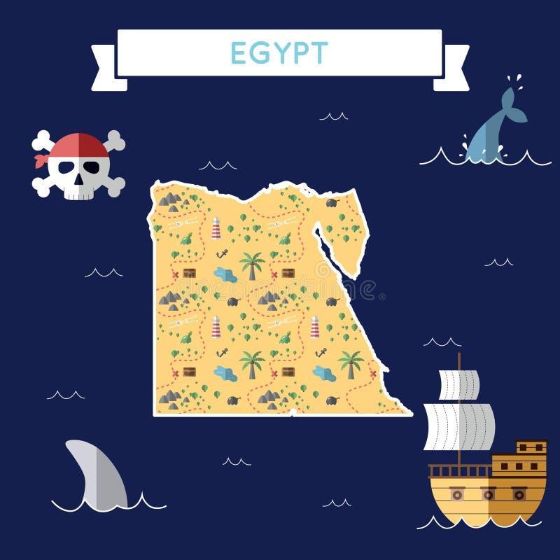 埃及的平的珍宝地图 向量例证