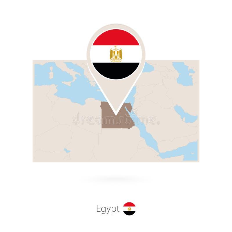 埃及的长方形地图有埃及的别针象的 向量例证
