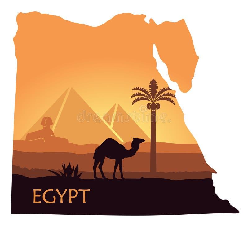 埃及的风景有一头骆驼、金字塔和狮身人面象的以地图的形式 皇族释放例证