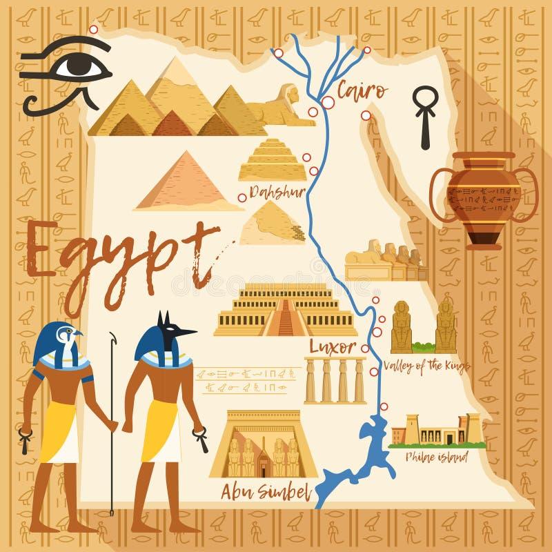 埃及的风格化地图用不同的文化对象和地标的 向量例证