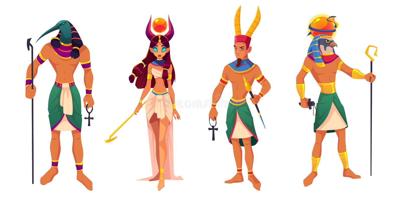 埃及神阿蒙,镭,Thoth,Hathor古老神 皇族释放例证