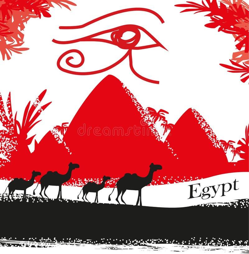 埃及符号和金字塔 向量例证
