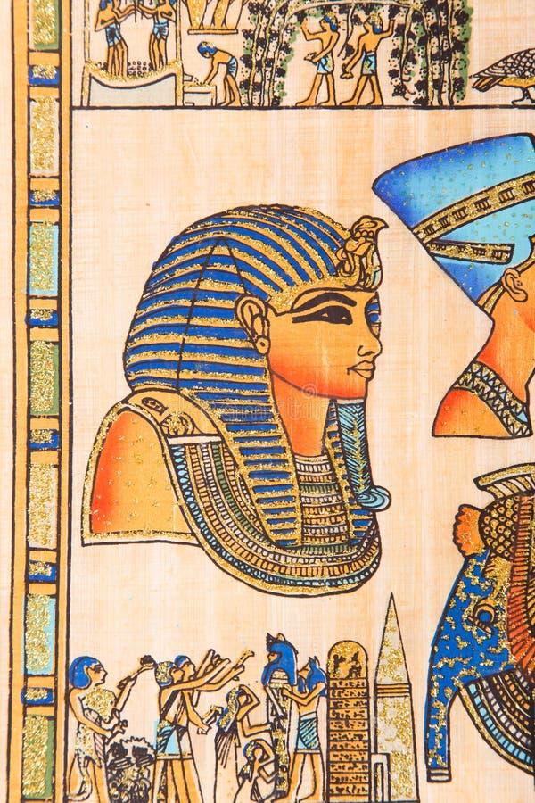 埃及纸莎草ل国王TUT 皇族释放例证