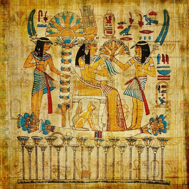 埃及老纸莎草 皇族释放例证