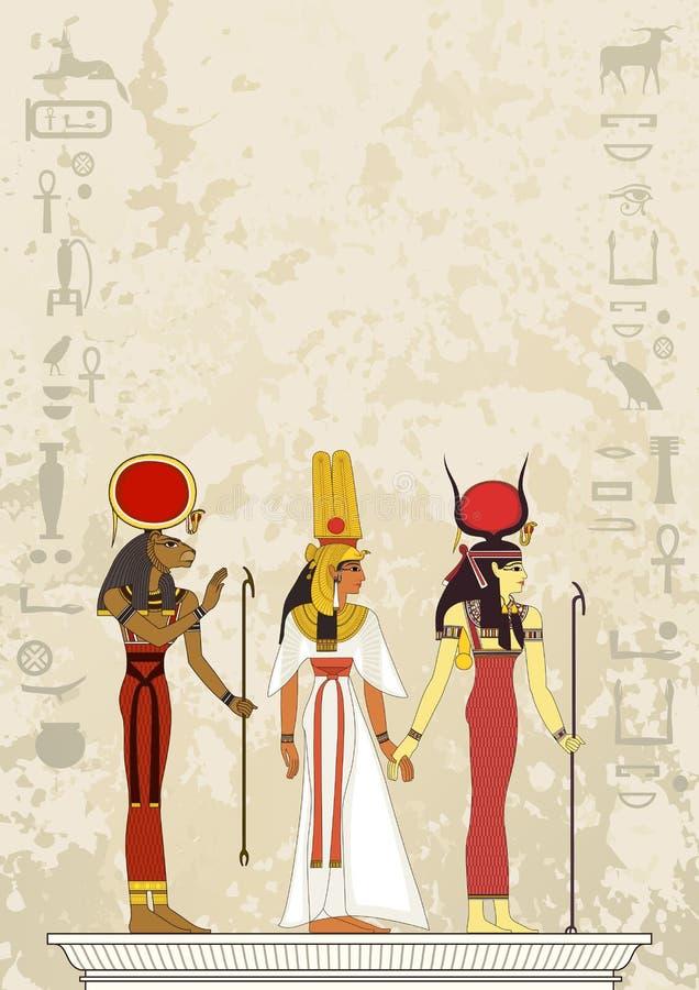 埃及象形文字和标志 古埃及横幅 皇族释放例证