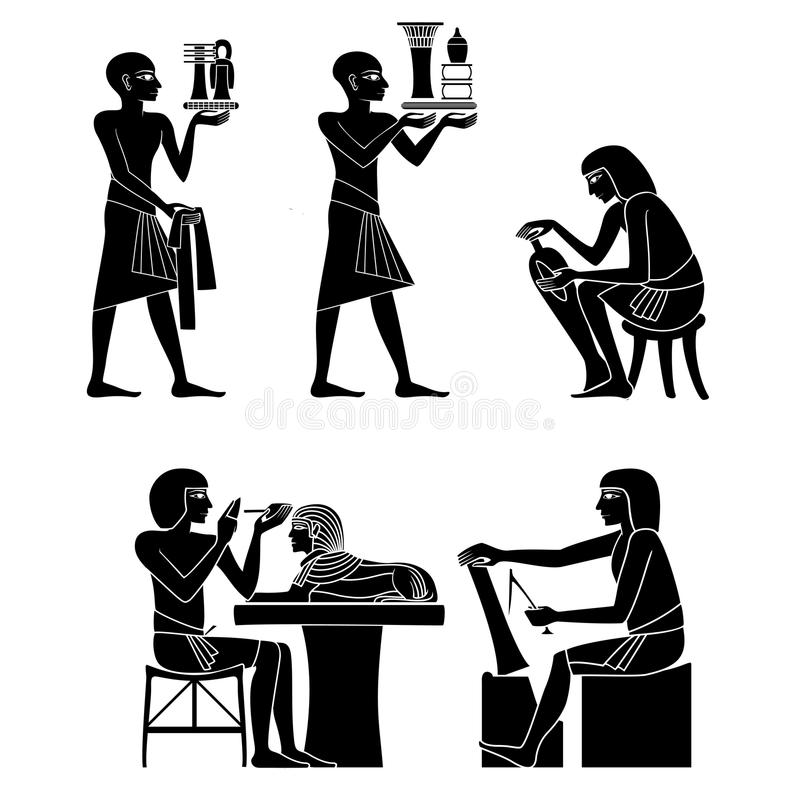 埃及象形文字和标志 向量例证