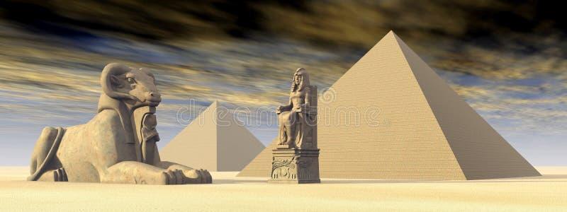 埃及金字塔和雕象 库存例证
