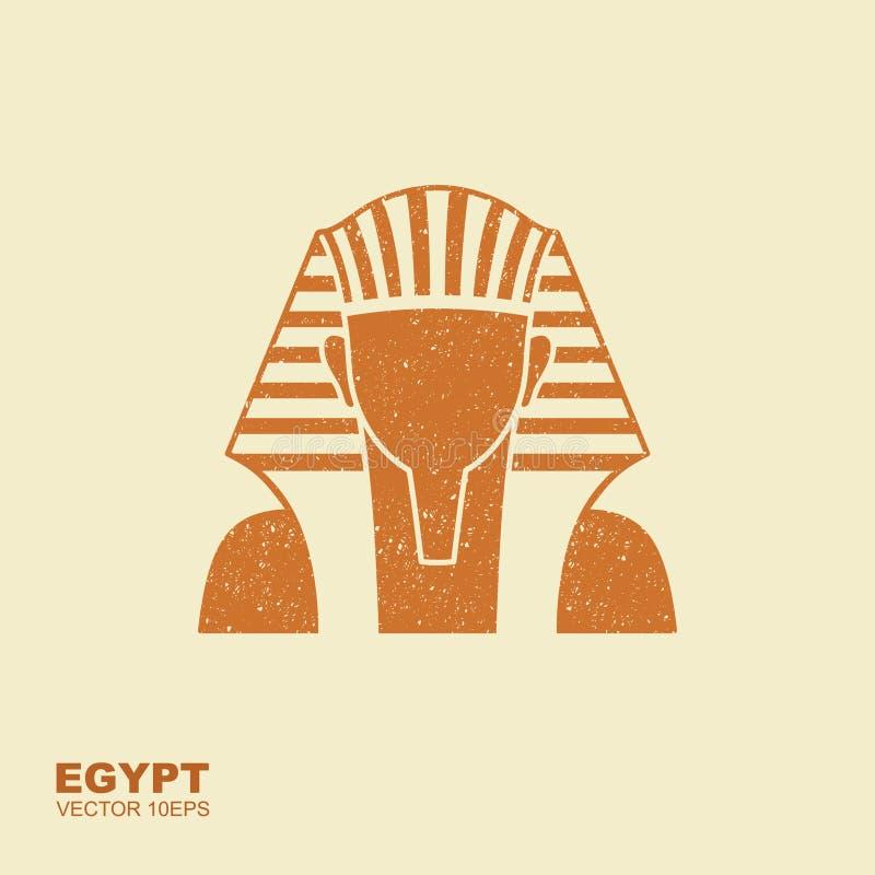 埃及金黄法老王面具象 埃及金黄法老王面具的例证 与拖着脚走路的作用的平的象 向量例证