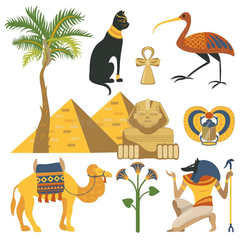埃及集合、古老埃及宗教和文化元素导航例证 皇族释放例证