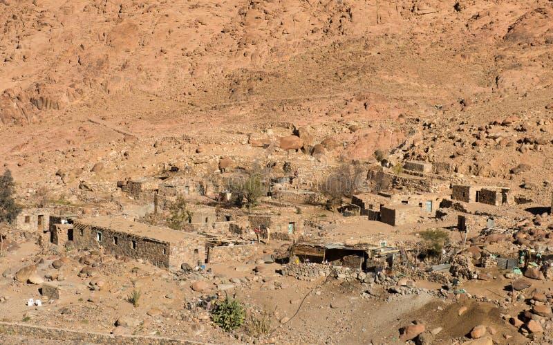 埃及风景,流浪的村庄在沙漠 库存照片