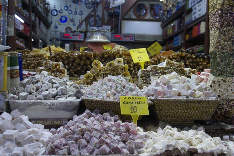 埃及香料义卖市场在伊斯坦布尔土耳其 免版税库存图片