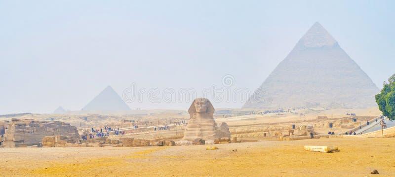 埃及,吉萨金字塔群的古老地标 库存图片