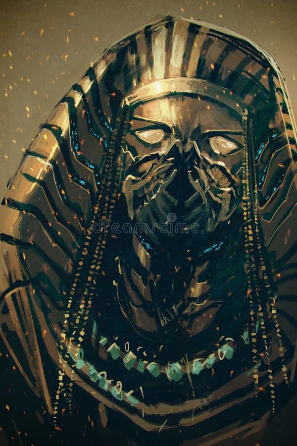 埃及,科学幻想小说概念的法老王 向量例证