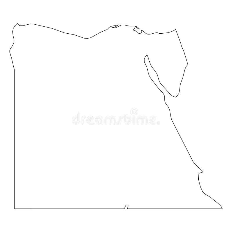埃及-国家区域坚实黑概述边界地图  简单的平的传染媒介例证 向量例证