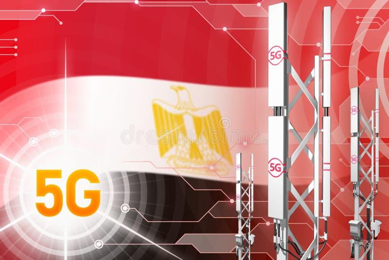 埃及5G工业例证、大多孔的网络帆柱或者塔在高科技背景与旗子- 3D例证 库存例证