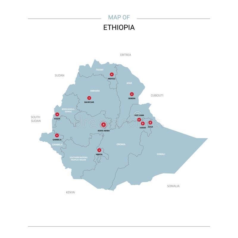 埃塞俄比亚与红色别针的地图传染媒介 皇族释放例证