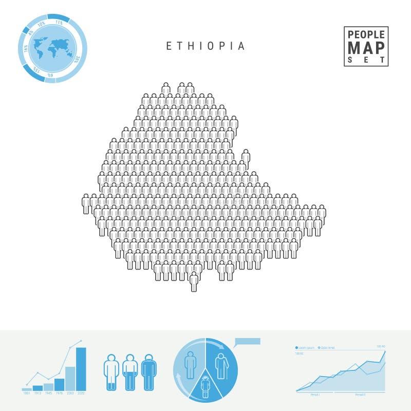 埃塞俄比亚人象地图 埃塞俄比亚的风格化传染媒介剪影 人口增长和老化Infographics 库存例证