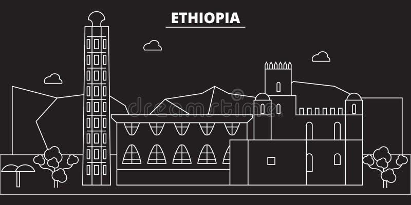 埃塞俄比亚剪影地平线 埃塞俄比亚传染媒介城市,埃赛俄比亚的线性建筑学, buildingtravel例证,概述 向量例证