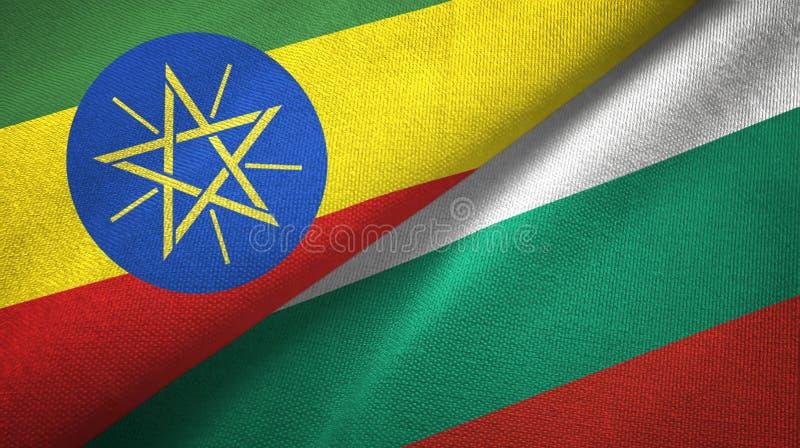 埃塞俄比亚和保加利亚两旗子纺织品布料,织品纹理 向量例证