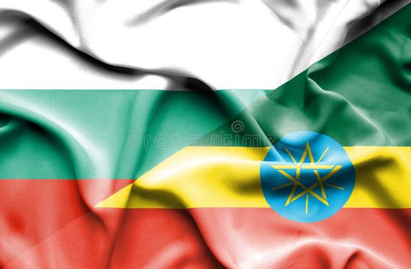 埃塞俄比亚和保加利亚的挥动的旗子 向量例证