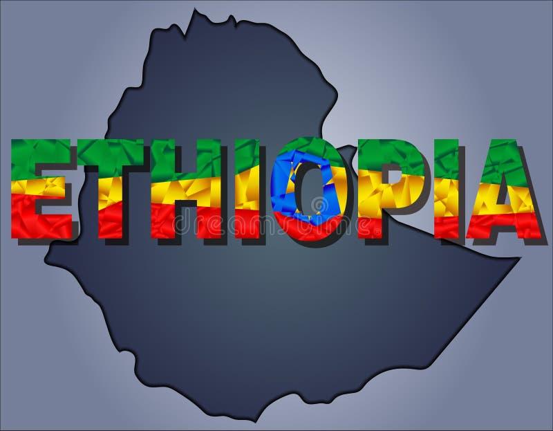 埃塞俄比亚和埃塞俄比亚词疆土等高在国旗的颜色的 向量例证