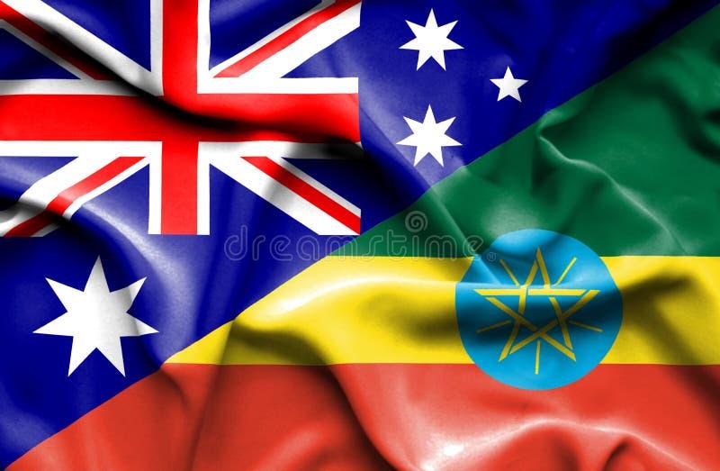 埃塞俄比亚和澳大利亚的挥动的旗子 库存例证