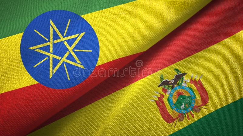 埃塞俄比亚和玻利维亚两旗子纺织品布料,织品纹理 向量例证