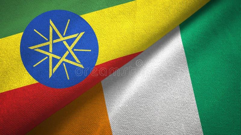 埃塞俄比亚和科特迪瓦象牙海岸两旗子织物纹理 库存例证