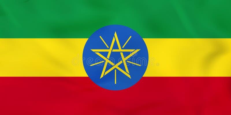埃塞俄比亚挥动的旗子 埃塞俄比亚国旗背景纹理 向量例证