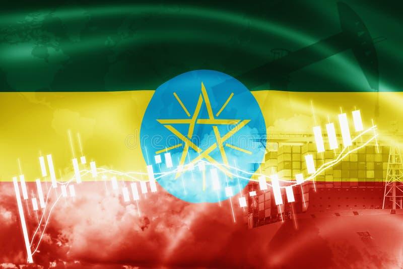 埃塞俄比亚旗子、股票市场、交换经济和贸易,石油生产,在出口和进口业的集装箱船和 库存例证