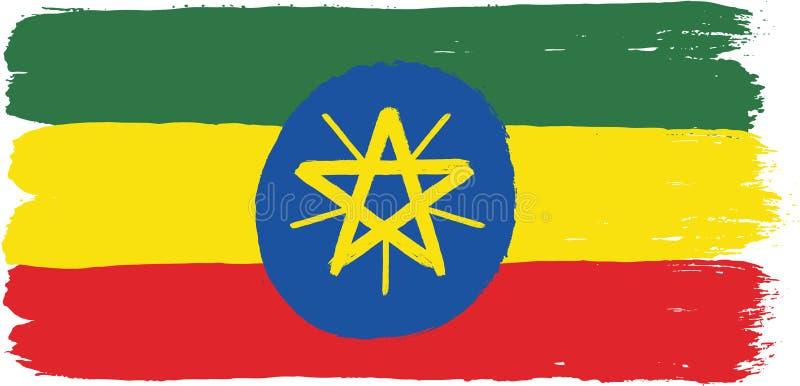 埃塞俄比亚旗子传染媒介手画与被环绕的刷子 向量例证