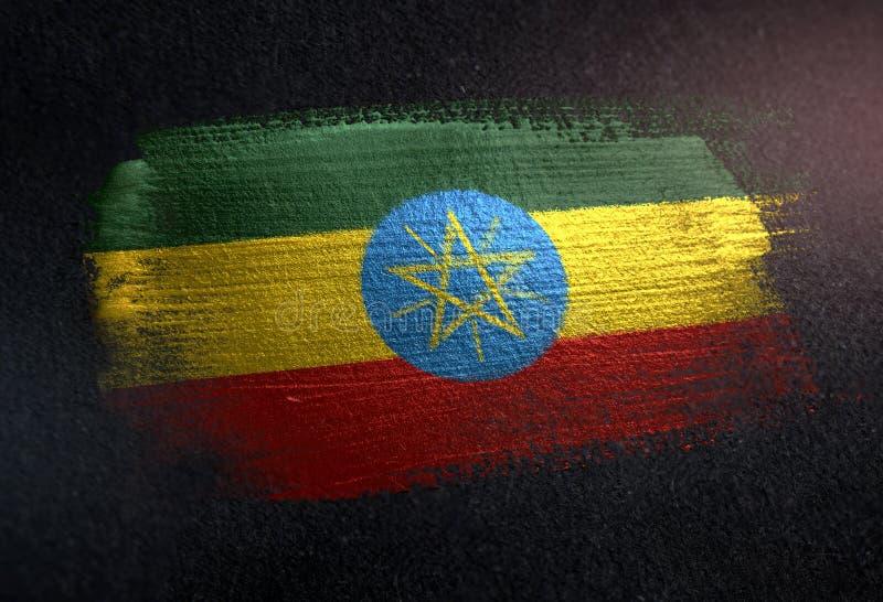 埃塞俄比亚旗子由金属刷子油漆制成在难看的东西黑暗墙壁 皇族释放例证