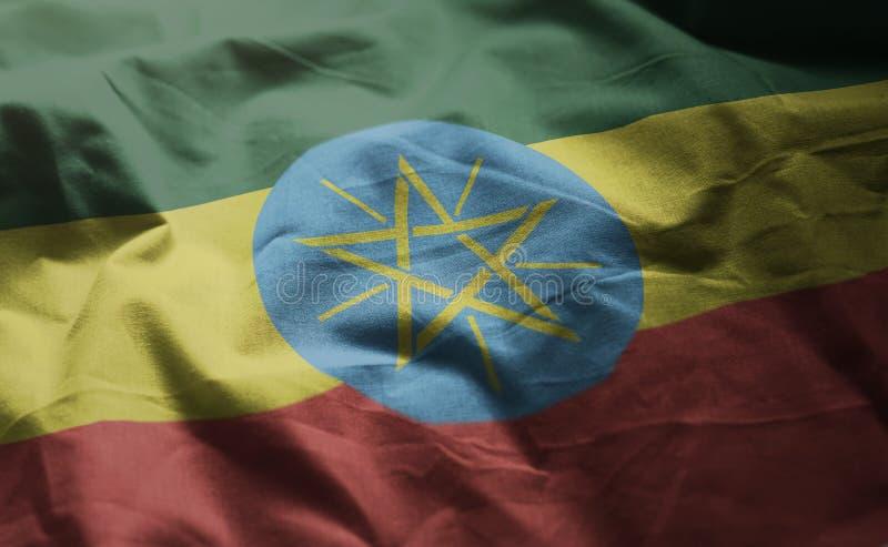 埃塞俄比亚旗子起皱了接近  免版税库存照片
