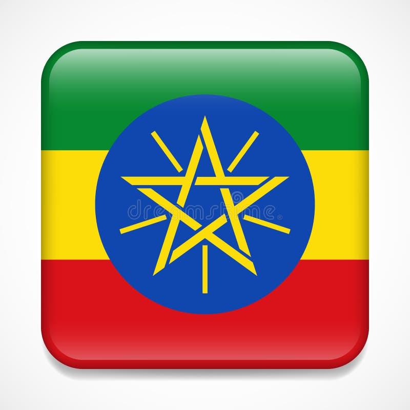 埃塞俄比亚标志 正方形光滑的徽章 向量例证