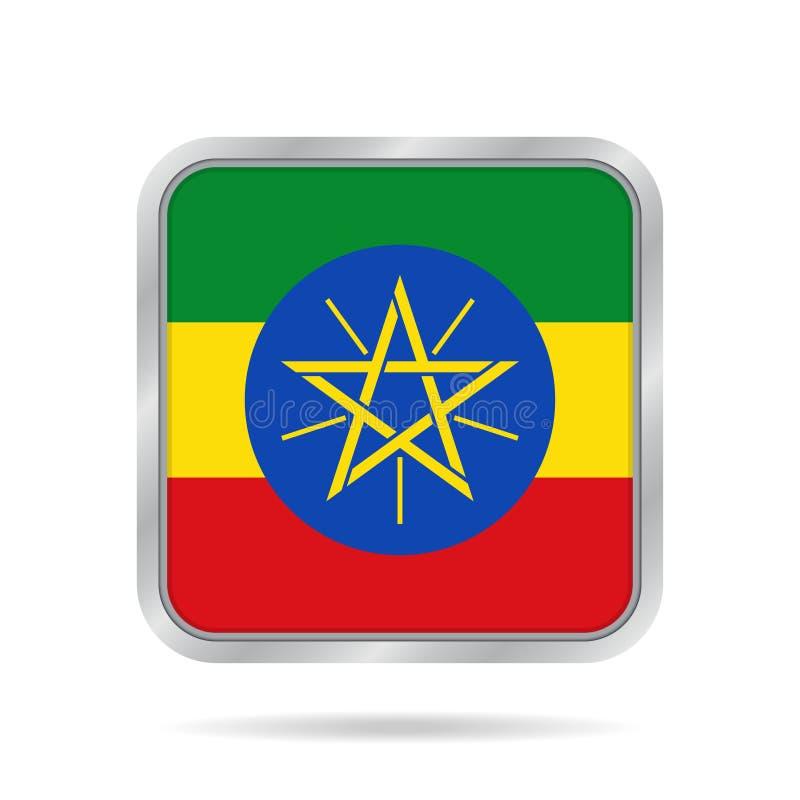 埃塞俄比亚标志 金属灰色方形的按钮 库存例证