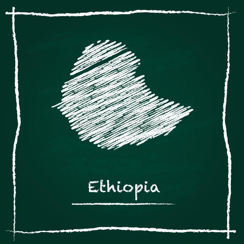 埃塞俄比亚概述传染媒介地图手拉与白垩 向量例证