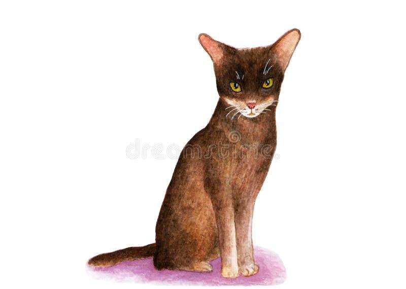 埃塞俄比亚猫 额嘴装饰飞行例证图象其纸部分燕子水彩 向量例证