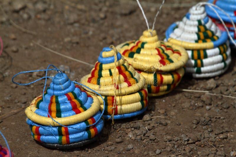 从埃塞俄比亚的五颜六色的篮子 免版税库存照片